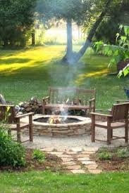 Landscaped Backyard Ideas Build Round Firepit Area For Summer Nights Relaxing Summer