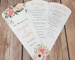 petal fan wedding programs petal fan programs etsy
