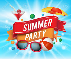 party ribbon summer party poster with colorful elements and a text in a ribbon