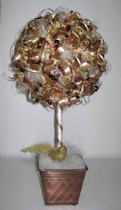 gold and bronze christmas ribbon topiary ribbons pinterest