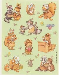 vintage thanksgiving critters sticker sheet by hallmark
