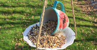 this teacup bird feeder will look so cute in your backyard