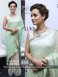 buy diya mirza pista color georgette saree 507460