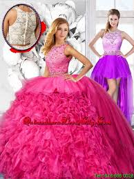 quinceanera pink dresses cheap hot pink detachable quinceanera dresses with scoop 255 87