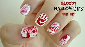 easy bloody halloween nail art crime scene youtube