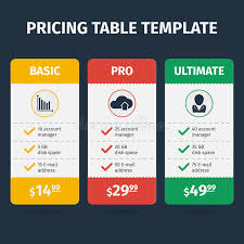 vector pricing table template stock illustration image 51725301