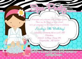 Party Invitation Card Spa Party Invitations Kawaiitheo Com