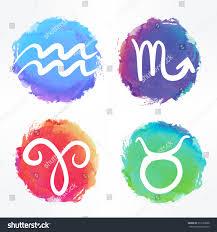 circle zodiac signs set horoscope collection stock vector