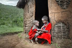 two masai boys color kenya and africa