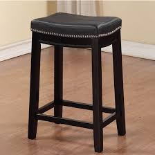 linon claridge black counter stool with patch designed top and