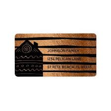 home copper black stripes return address label return