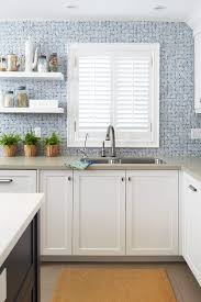 floating shelves in kitchen kitchen contemporary with mosaic tile