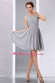 Light Gray Bridesmaid Dress Short Grey Ruched Chiffon Scoop A Line Junior Bridesmaid Dress