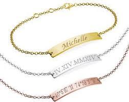 Gold Personalized Bracelets Engraved Bracelets Etsy
