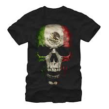 men u0027s mexican flag skull t shirt