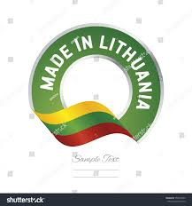 Flag Of Lithuania Picture Made Lithuania Flag Green Color Label Stock Vector 550547890