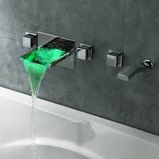 led waterfall wall mounted bathroom bath filler mixer tap hand