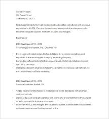 sle php developer resume php developer resume template 19 free sles exles format