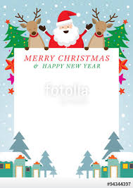 santa claus and reindeer frame characters merry and