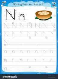 writing practice letter n printable worksheet stock vector