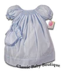 petit ami blue smocked daygown bishop dress bonnet newborn