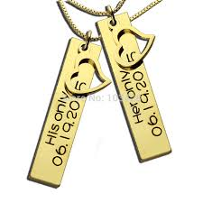 Engraved Necklaces For Her Aliexpress Com Buy Personalized Couples Necklaces Gold Color