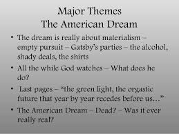 themes and ideas in the great gatsby in class notes on the great gatsby