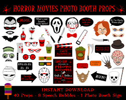 scary halloween signs printable horror movies photo booth propshalloween photo