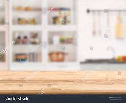 Wooden Kitchen Table Background Wooden Counter Top Kitchen Cabinet Background Stock Photo