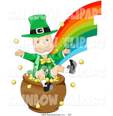 vector clip art of a leprechaun sitting in a pot of gold at the