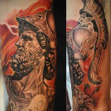 ares god of war statue portrait greek sleeve by roly viruez
