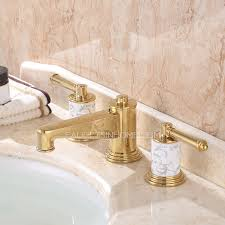 luxury polished brass three gold bathroom sink faucet
