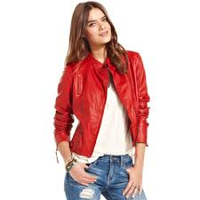 lucky brand indio leather jacket in red lyst