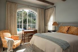 Arched Window Curtain Dazzling Swing Arm Curtain Rod In Bedroom Mediterranean With Light