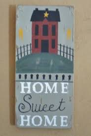 Primitive Home Decor Hand Crafted Rustic Distressed Primitive Home Sweet Home Saltbox