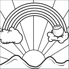 rainbow pot gold coloring pages sun clouds