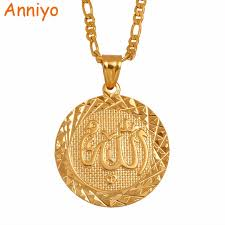 aliexpress pendant necklace images Anniyo silver gold color allah pendant necklace chain for men jpg