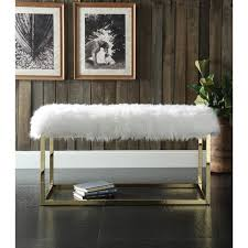 Luxe Sofa Frame Chic Home Marilyn Luxe Fur Seat Metal Frame Cube Ottoman Bench