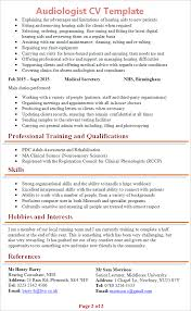Interest And Hobbies For Resume Samples by Audiologist Cv Template Tips And Download Cv Plaza