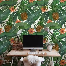 removable wallpaper tropical pineapple wallpaper exotic