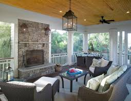 screened in porch with fireplace porch traditional with ceiling