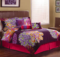 King Of Floors Laminate Flooring Colorful Flower Show Twin Comforter Set On Pink Bed With Brown