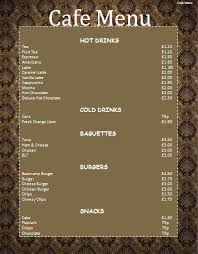 simple menu template free cafe menu template microsoft word templates