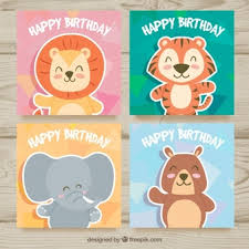 collection of cards with animals at birthday party vector free