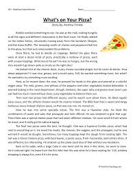 what u0027s on your pizza reading comprehension worksheet