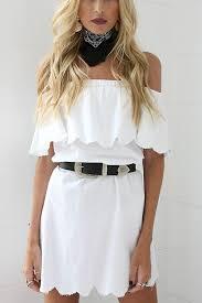 white off shoulder sleeveless floral ruffle design causal dress