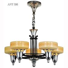 late streamline art deco five light chandelier with custard cup