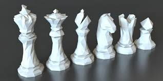 chess set designs 3d printed faceted chess set by thomas davis pinshape