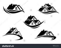 the symbol black white roof houses swoosh symbol stock vektor 207930652