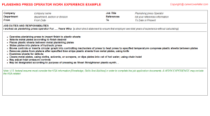 offset assistant press operator cv work experience samples
